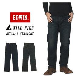 【スーパーストレッチ】エドウィン暖かいパンツEDWIN(エドウィン)「本物の暖かさ」503ワイルドファイアストレートジーンズストレッチE503WFワンウォッシュブラックデニムバイク