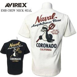 送料無料AVIREX(アビレックス)半袖クルーネックTシャツ刺繍ミリタリーTシャツEMBCREWNECKSEALホワイトロイヤルアヴィレックス6193344アメリカ特殊作戦群メンズ春夏オシャレミリタリーファッション