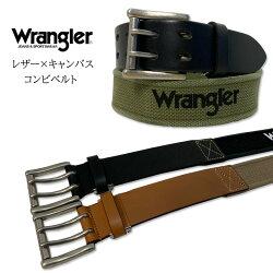 Wrangler(ラングラー)牛革×キャンバスダブルピンレザーベルトカット可能日本製WR4401コンビベルトジーンズカーゴパンツ通信販売【楽ギフ_包装】
