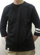 桃太郎ジーンズ7分袖Tシャツ07016BK高級ジンバブエコットン5.2オンス使用日本製国産ブラックサムライジーンズ【送料無料】メンズ【あす楽】通販ポイントプゼント人気おすすめ桃太郎JEANS
