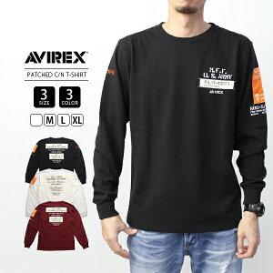 【送料無料】AVIREX Tシャツ 長袖 アヴィレックス アビレックス Tシャツ メンズ ロンT WOVEN PATCHED CREW NECK T-SHIRT 6193468