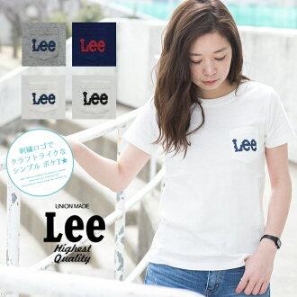 有Lee標識十字花刺綉刺綉口袋的T恤LS7269/女士/頂端/刺綉/口袋/標識/LEE/短袖/針織/休閒/十字花刺綉/圓領