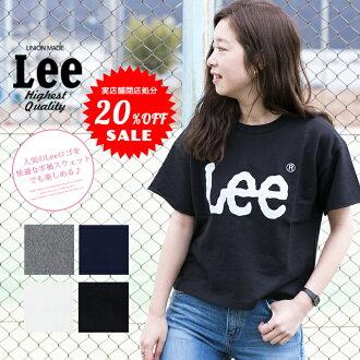 Lee標識印刷短長運動衫LS7271/女士/頂端/短袖/背後毛/薄/標識/圓領/cut斷開/休閒/LEE
