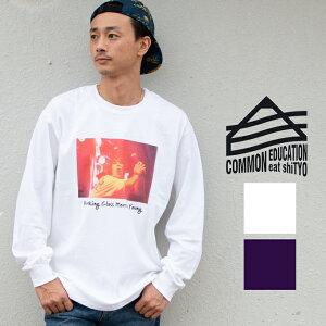 【 COMMON EDUCATION コモンエデュケーション 】 L/S TEE SO YOUNG フォトプリント ロングスリーブ Tシャツ 30049 / メンズ トップス ロンT Tシャツ フォトtシャツ バンドT 長袖 ロングスリーブ ロンt ストリート メンズ ロンティー