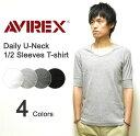 楽天AVIREX(アヴィレックス) DAILY U-NECK 1/2 SLEEVES T-SHIRT リブ素材Uネック 5分袖無地Tシャツ 伸縮デイリー生地 五分袖インナー アビレックス 【6193142】