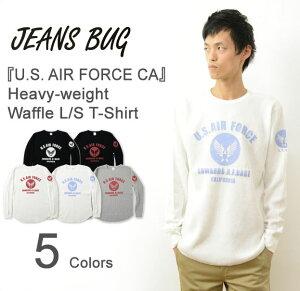 Tシャツ オリジナル エアフォース ミリタリー プリント ワッフル レディース サーマル インナー アメリカ