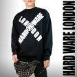 オーバーサイズ ビックシルエット ロゴ スエット黒 トレーナー ブラック ロック パンクファッション ストリート ブランド スケーター ユニセックス パーカー tシャツ ロックt ロックテイスト 長袖(着こなし ロックシャツ クール おしゃれ)