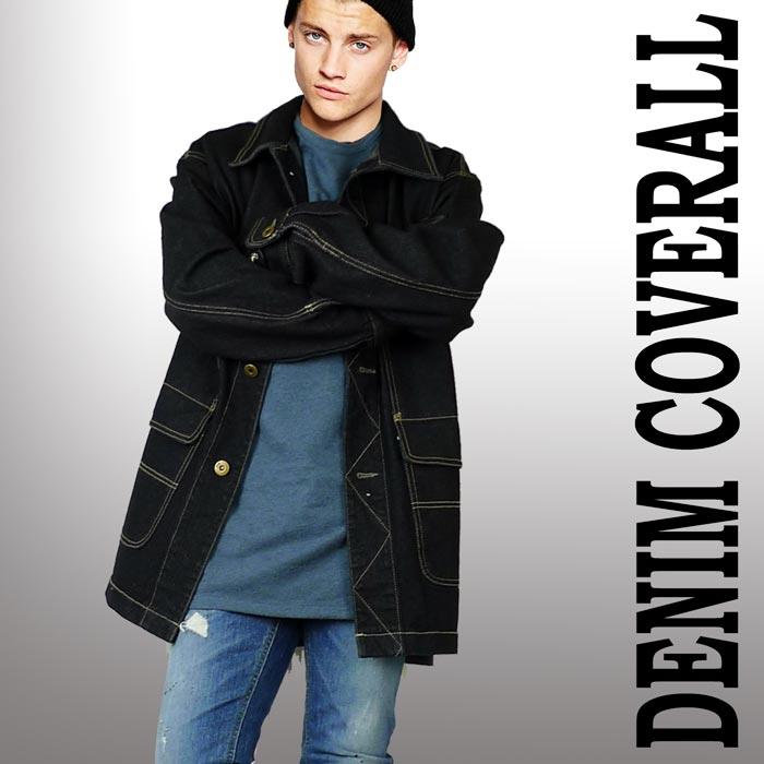デニムコート ブラック カバーオール メンズコート パンク ロック ファッション ロ...