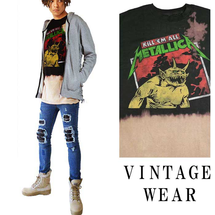 トップス, Tシャツ・カットソー t VINTAGE WEAR LA metallica KILL ME ALL t t t