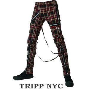 ボンテージパンツ TRIPP NYC トリップニューヨーク ZIP クラシック タータンチェック ボンデージパンツ スキニーパンツ パンク ロック ファッション スキニー カーゴ ロックファッション メンズ tripp nyc パンクファッション ヘビメタ 春