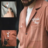 レトロ刺繍開襟シャツ