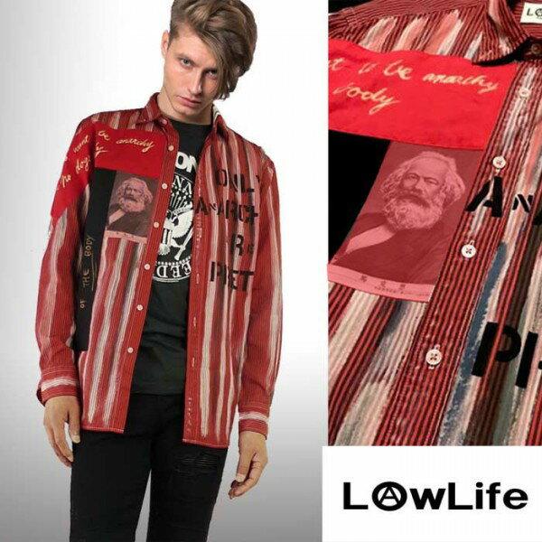 LOW LIFE(ローライフ)アナーキーシャツ レッド ハンドメイド シャツ 長袖 トップス...