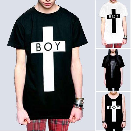 boylondon ボーイロンドン longclothing ロングクロージングTシャツ BOYロゴ+クロスのコラボTシャ...