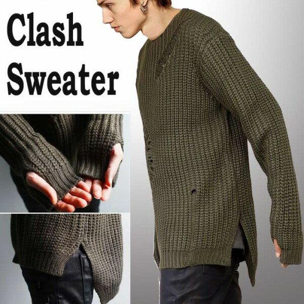 クラッシュ ダメージ セーター (オーバーサイズめのセーター選べる2カラー ニット ...