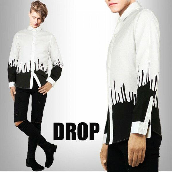 滴(しずく)プリント パターンがインパクト在り過ぎのデザイン シャツ シャツ メ...
