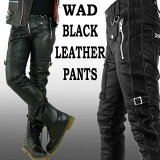 WADブラックレザーパンツバイカーパンツスキニー/ブラックレザーパンツ革パンツ(パンクロックファッションスキニーパンツスキニーメンズロックファッションバイカーパンツバイカースキニーヘビメタパンツライダースリムパンツ