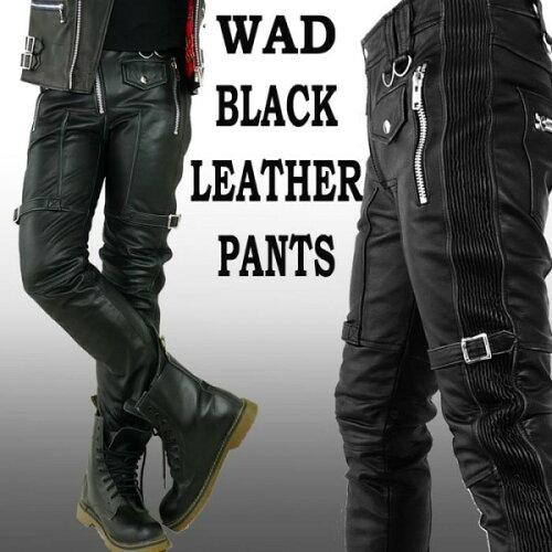 WAD ブラック レザーパンツ バイカー パンツ スキニー/ブラック レザー パンツ 革パンツ (パンク ...