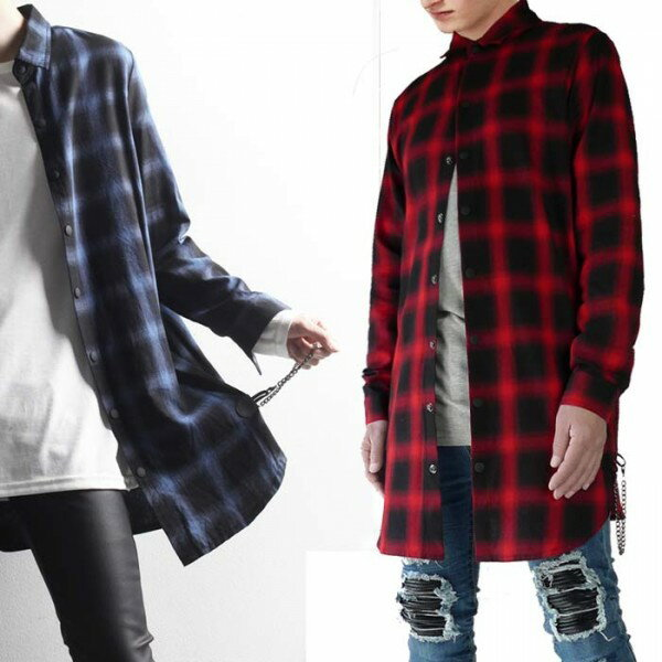 チェック柄 ロング丈 長袖シャツ 選べる2カラー ビックシルエット オーバーサイズ ...