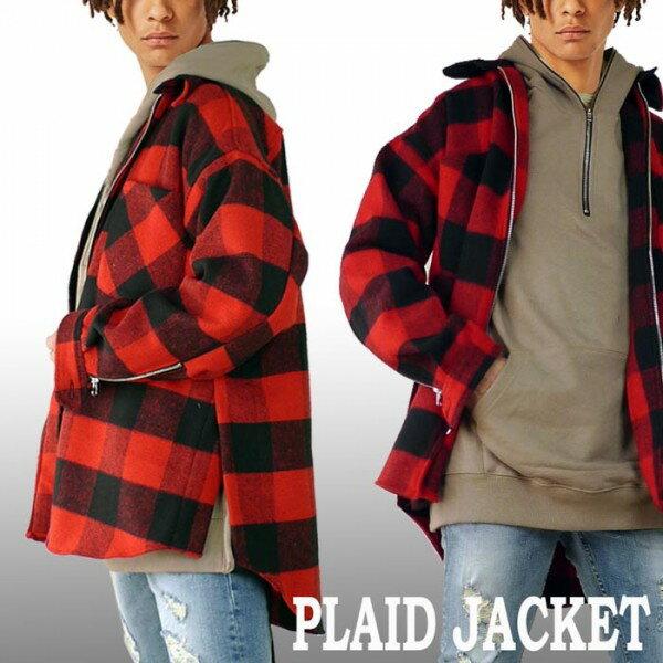 赤黒 ブロックチェック ジャケット トレンドのビッグ・シルエット オーバーサイズ ...