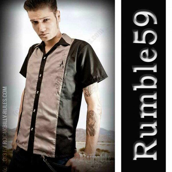 ボウリングシャツ(ボーリングシャツ)開襟シャツ 半袖 メンズ rumble59 オープンカ...