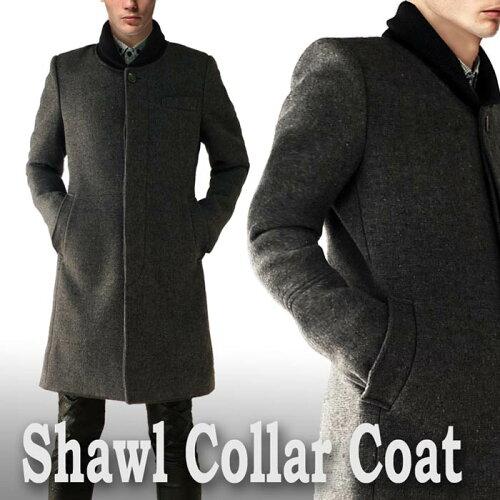 ウールコート ヘチマ襟 メンズ グレー ロングコート メンズ(ロング丈 ウール コート ツイード 冬 ...