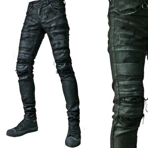 クラッシュ スキニー コーティング ステッチ ダメージ ファッション メンズスキニー ジーンズ ブラック