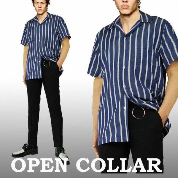 開襟シャツ ブルー ストライプ 半袖 メンズ ロカビリー レトロシャツ メンズ 半...