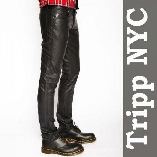 メンズフェイクレザーパンツ TRIPP NYC(トリップニューヨーク)PUレザーパンツ スキニーパンツ (メ...