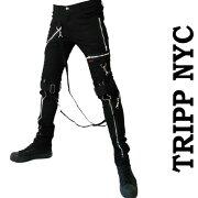 ボンテージパンツ トリップニューヨーク スキニー ボンデージパンツ スキニーパンツ ファッション ブラック ジーンズ