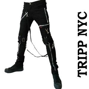 ボンテージパンツ TRIPP NYC トリップニューヨーク メンズ ブラック スキニーパンツ 黒 zip ベルト パンク ロック ファッション カーゴ ロックファッション ストレッチ tripp ヘビメタ v系 モード系 ロック系 アメリカン バイカー ストリート かっこいい ブランド PUNK 冬