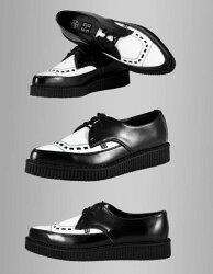 T.U.K(TUK).ユーロ・ストリート系には必須のクリーパー(厚底ゴム製ソール)のコンビネーションシューズ白黒,コンビ靴,革靴,TUK,ロック,モッズ,クリッパー,ロックファッション,ブリティッシュ,ユーロストリート(厚底シューズメンズロック服)