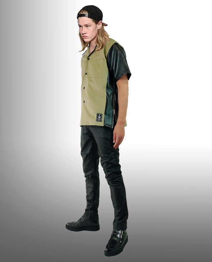 WADオリジナルロックなサイドZIPオープンカラーシャツフェイクレザー切り替え衿、袖ワーク