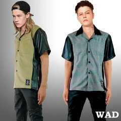 WADオープンカラーシャツ ワークシャツ ボーリングシャツ メンズ 半袖 カットシャツ 刺繍...
