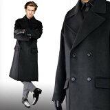 ダブルボタン大きめ衿ぶかっとオーバーサイズ・デザイントのブラックウール混紡コートメンズ黒コートロックファッションモードウールコート送料無料冬あったかきれいめおしゃれかっこいいロングコート