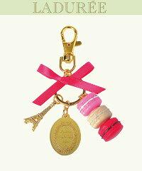 Les secrets LADUREE Paris(スクレ・ラデュレ)☆ピンク ローズ ☆マカロン ストラップ チャーム キー ホルダー リング♪ピンク×クリーム×レッド♪
