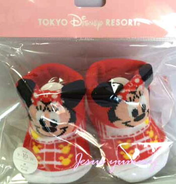 ディズニー ミニー ベビー 靴下 くつした ソックス 9-11cm レッド 東京ディズニーリゾートお土産袋付き 【DISNEY】