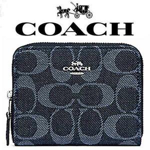 394b36c67e5e46 【送料無料】F67586 SV/DE コーチ COACH デニム シグネチャー ジップ 二つ折り財布 財布 レディース アウトレット品