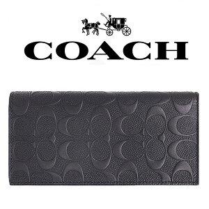 f32c3fbb1aca 【送料無料】F75365 BLK コーチ COACH 長財布 ブラック シグネチャー デボスド ブレスト アウトレット メンズ