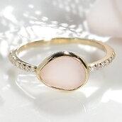 K18YGピンクオパールダイヤリング