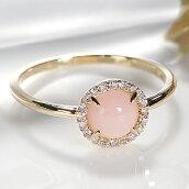 ☆K18YGピンクオパールダイヤリング