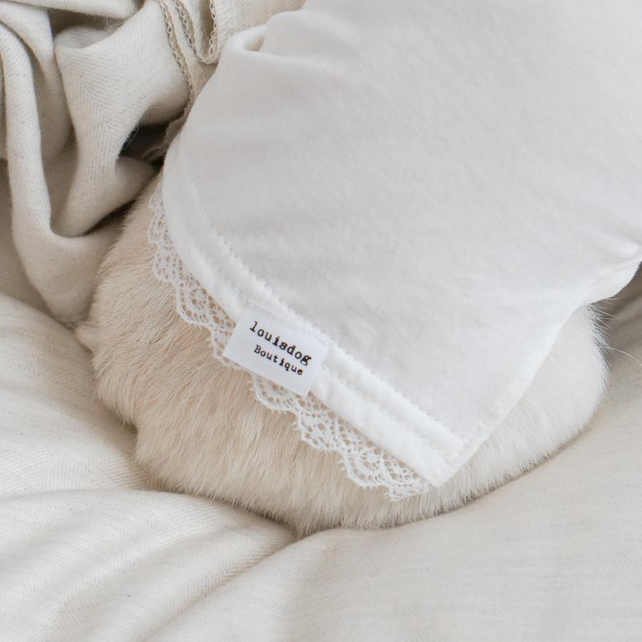 【ゆうパケット対象】Louis Dog (ルイスドッグ)(ルイドッグ)White Organic Tee小型犬 オーガニック シンプル レース 長袖 ワイド袖