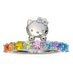 かわいいキティに虹色のCZがきらめくリングです!!HELLO KITTY ring キティちゃん ハローキテ...