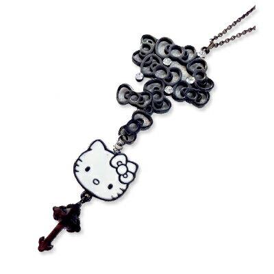 """ハローキティ Hello Kitty Modesta Ro-lo """"BLACK Label"""" リボンモロザリオペンダント rosary キテ..."""