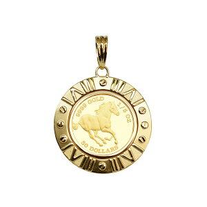Tuvalu / Schlauchmünze Goldmünze K24 (Pure Gold) 1/5 oz Pferdemünze K18 Anhängeroberteil mit Rahmen