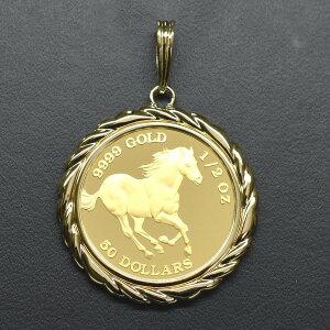 Tuvalu / Schlauchmünze K24 (Pure Gold) 1/2 Unze Pferdemünze K18 Gerahmte Anhängeroberseite