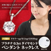PT900プラチナ0.3ctダイヤモンド一粒ペンダントネックレス【鑑定書付】