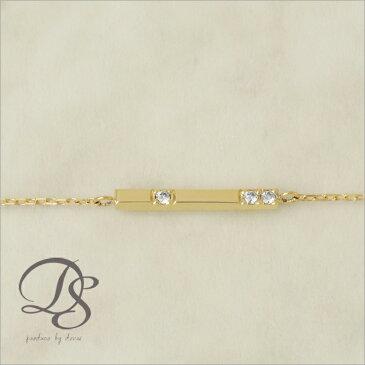 K18 ゴールド ブレスレットチョコバー ダイヤモンド 3石 レディース 18K 18金プレゼント DEVAS ディーヴァス