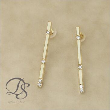 18k 18金 ゴールド ピアス チョコバー(ロング) ダイヤモンド 4石 プレゼント DEVAS ディーヴァス