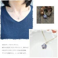 K10YGタンザナイトダイヤモンドイエローゴールド4月12月誕生石フラワーモチーフペンダント