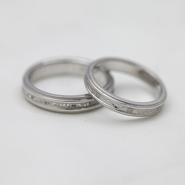 PT100(Pt10%) ダイヤモンド 手彫り彫刻リング プラチナ ペアリング【結婚指輪】